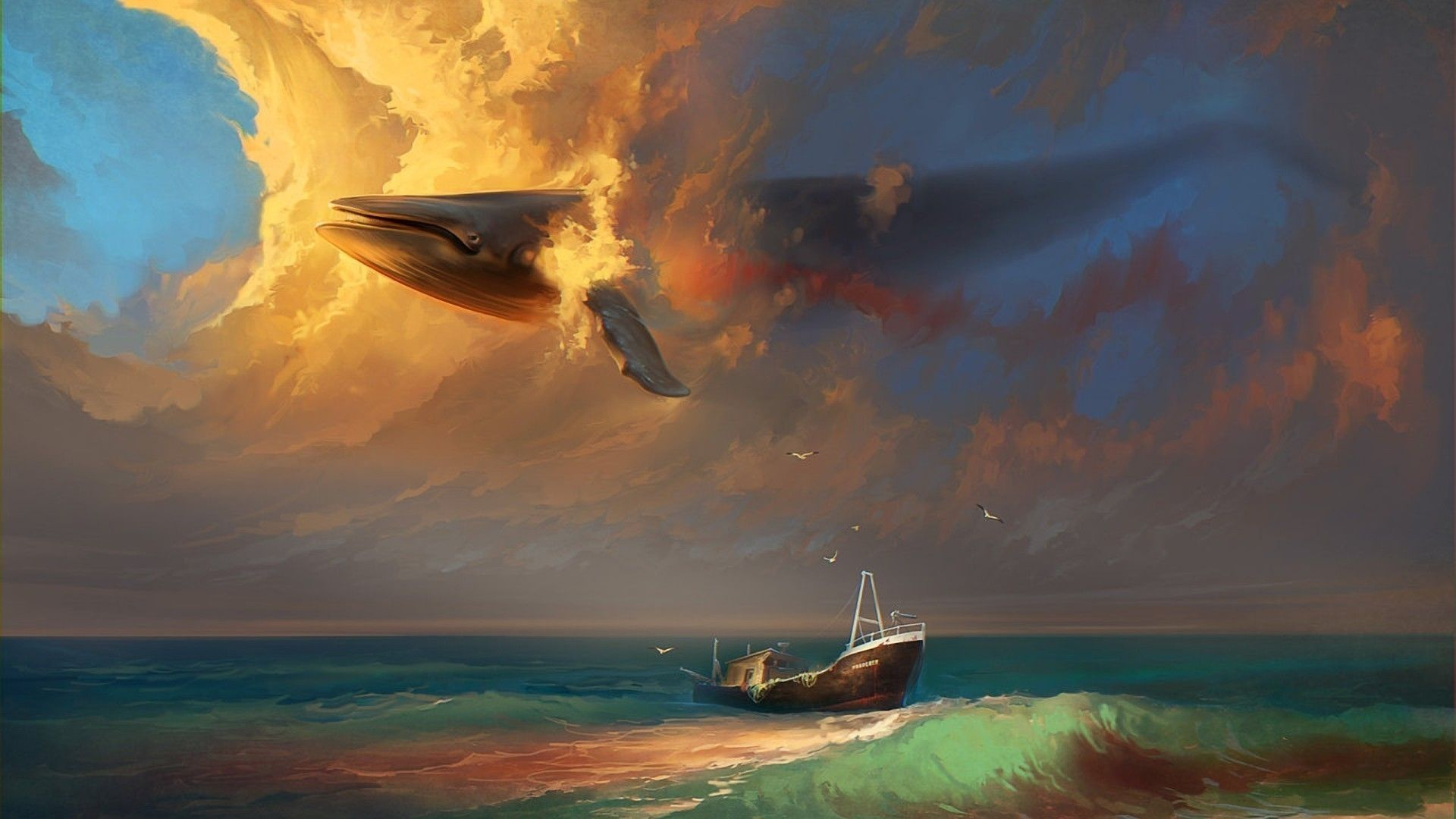 Download Wallpapers Download 1920x1080 Sunset Clouds Flying Waves Ships Fantasy Art Artwork Skies Whale Sea 1920x108 Digital Painting Whale Art Cloud Painting