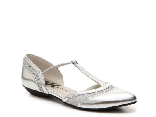 Women's AK Anne Klein Sport Orango Flat - Silver Metallic