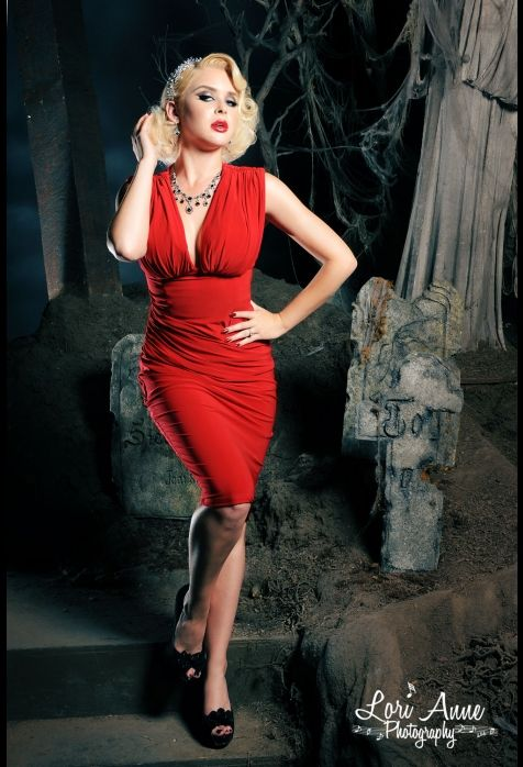 Gia Dress in Red Matte Jersey Knit pinupgirlclothing