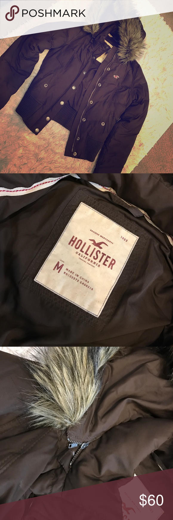 Hollister puff jacket with removable hood Like new Hollister puff jacket, with removable hood. Really cute jacket! Beautiful chocolate brown. No stains or defects Hollister Jackets & Coats Puffers