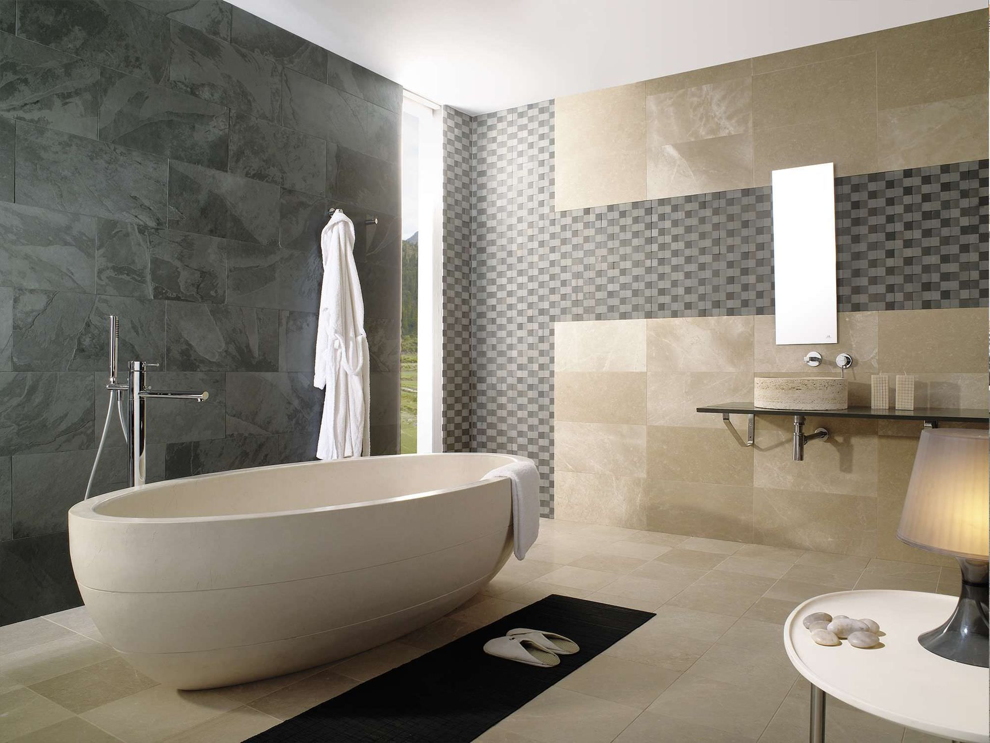 Beige Tiled Bathrooms Minimalist chrome bathtub | oval stone bathtub design ideas with modern