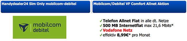 Vodafone Allnet Flat mit 500MB für 8,99€ http://www.simdealz.de/vodafone/mobilcom-debitel-comfort-allnet-mit-auszahlung/