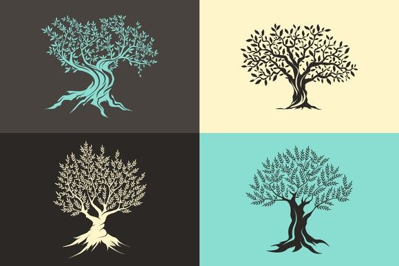Vector olive trees isolated set. Premium Icons. $9.00