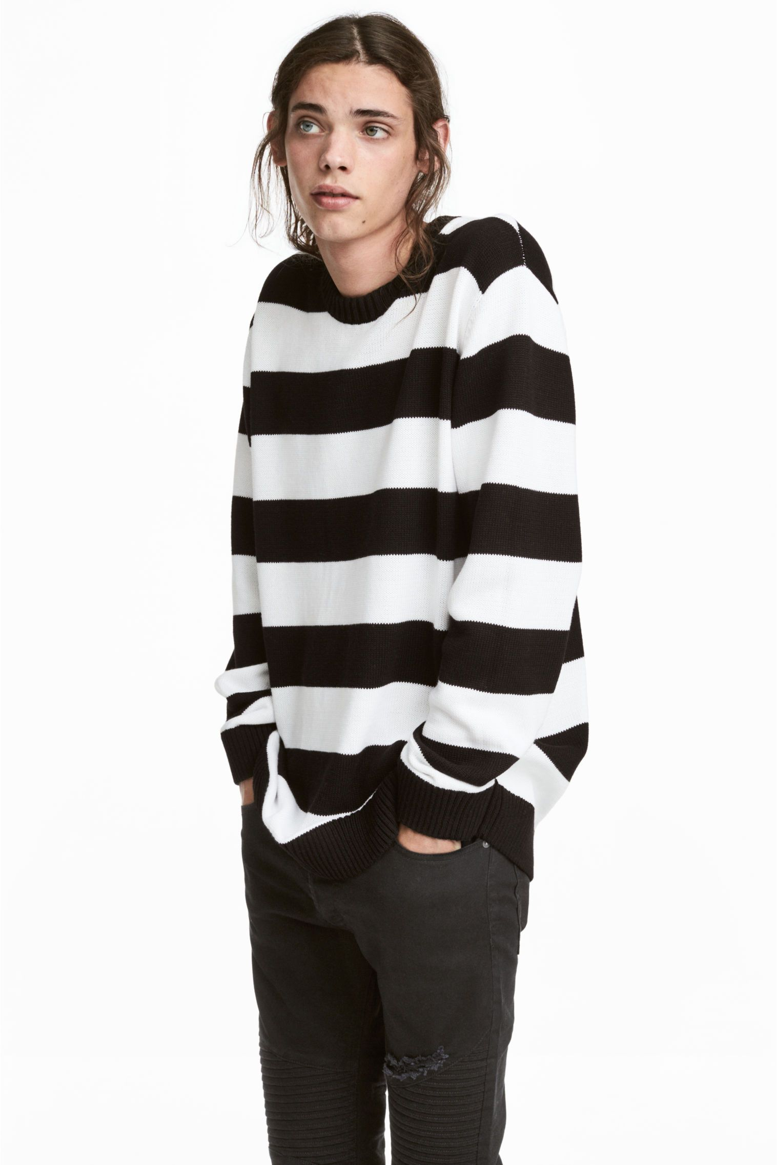 3882f152a0 Knitted jumper - Black White striped - Men