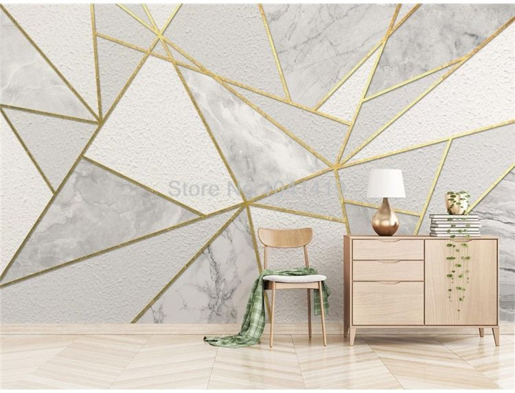 Modern Simple 3d Geometric Marble Wallpaper Golden Line Photo Wall Murals Living Room Bedroom Background Wall Painting 3d Fresco Wallpapers Aliexpress Geometric Wall Paint Living Room Bedroom Bedroom Wall