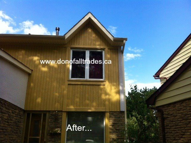 Don, owner of Don Of All Trades Professional Home Maintenance Services is BUSY! Here's another completed #home #improvement #project-#exterior #staining using #behr Solid latex stain. Give the exterior of your home a facelift with Don Of All Traders today. Our client was happy they did and actually, so did the neighbours! Call 905-259-5249 or email infodonofalltrades@gmail.com for your complimentary consultation today!