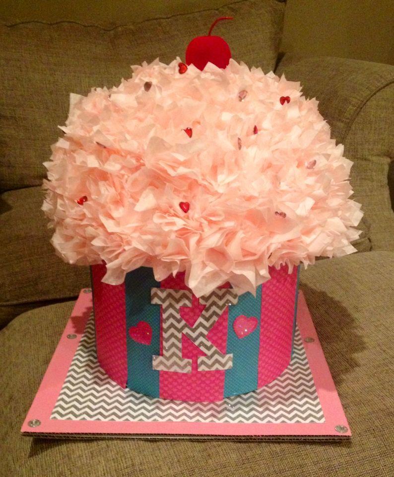 cupcake valentine box used a hat box styrofoam half sphere covered it - Cupcake Valentine Box