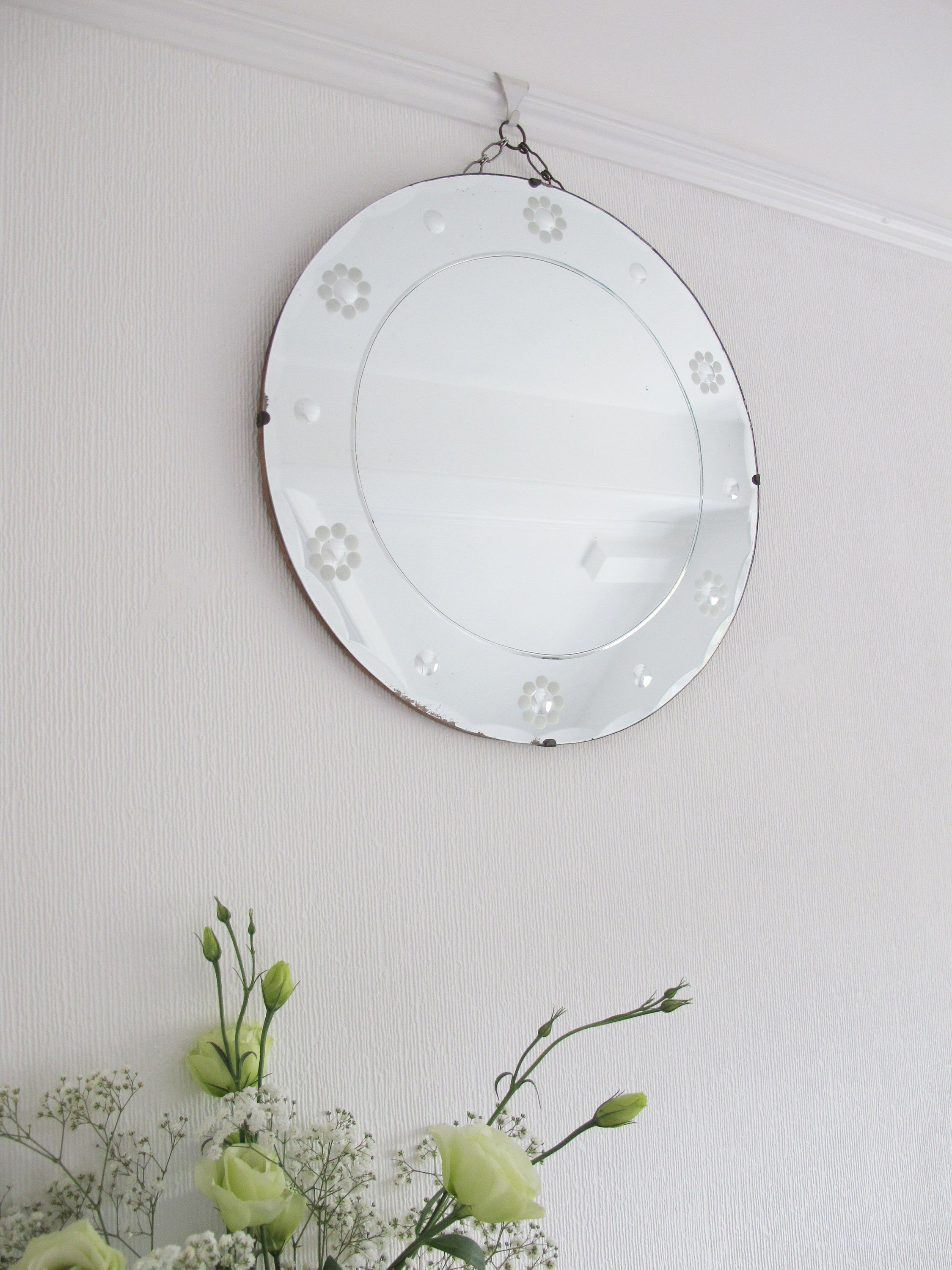 Vintage Beveled Edge Round Frame Less Mirror Art Deco Mirror With Original Visible Hanging Chain Ready To Ha Art Deco Mirror Hanging Mirror Mirror