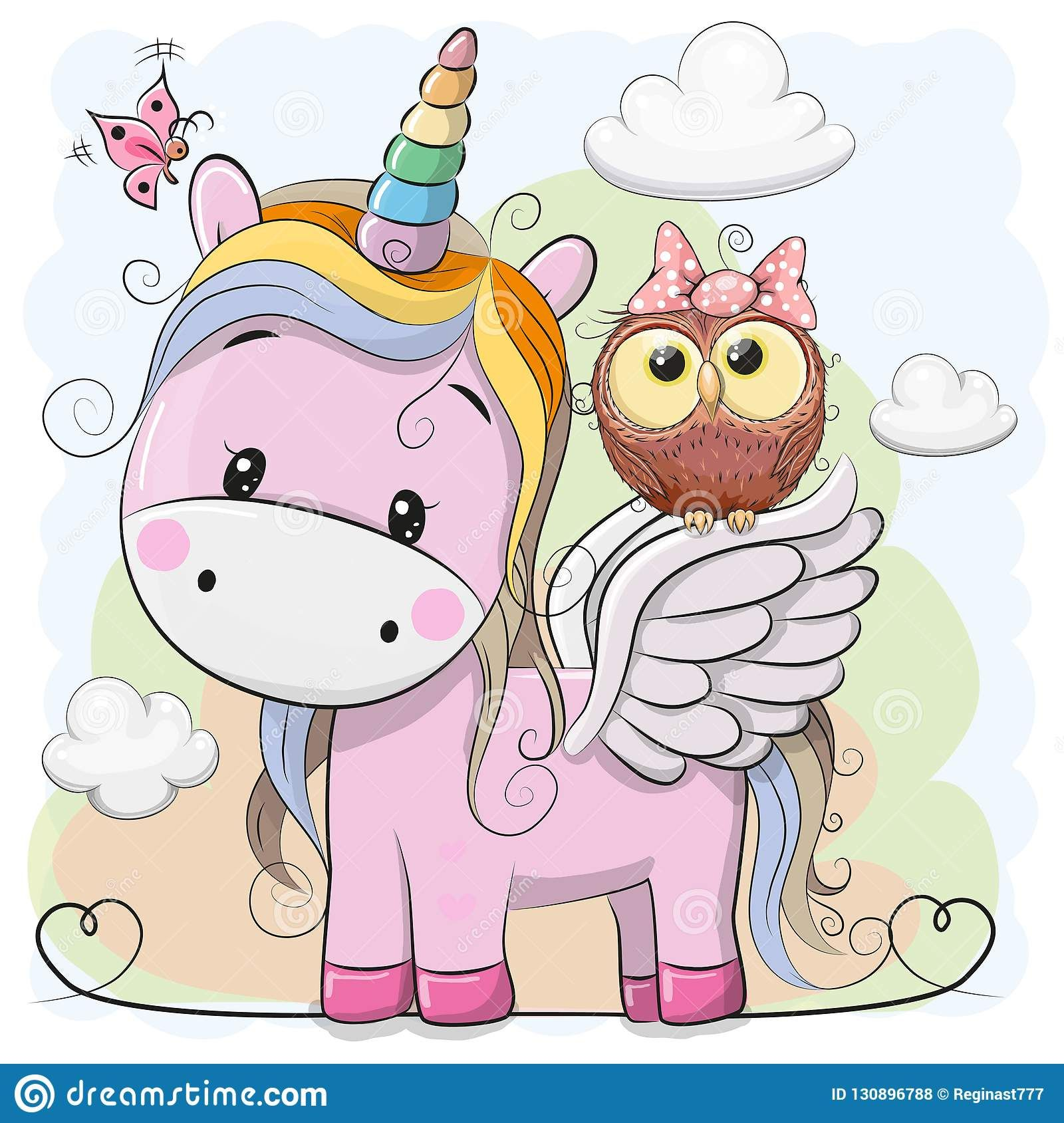 Illustration about Cute Cartoon pink Unicorn with owl in a ...