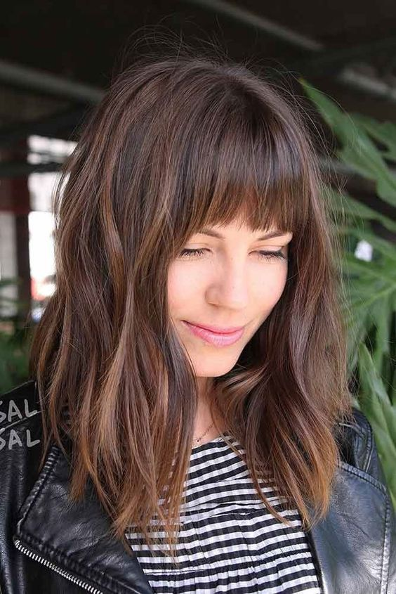 30 Non Boring Ways To Wear A Lob Haircut Long Bob Haircut With Bangs Picture2 See More Http Love Haircuts For Frizzy Hair Hair Styles Long Hair Styles