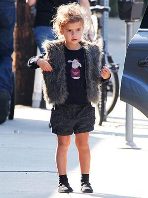 A fur vest by Cynthia Vincent. Jessica Alba's daughter Honor is one fashionably lucky little girl.