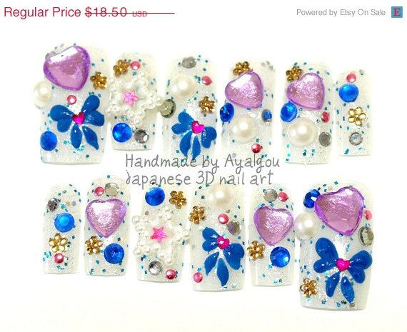 Summer SALE Blue bows and purple heart gems stars and by Aya1gou, $17.20