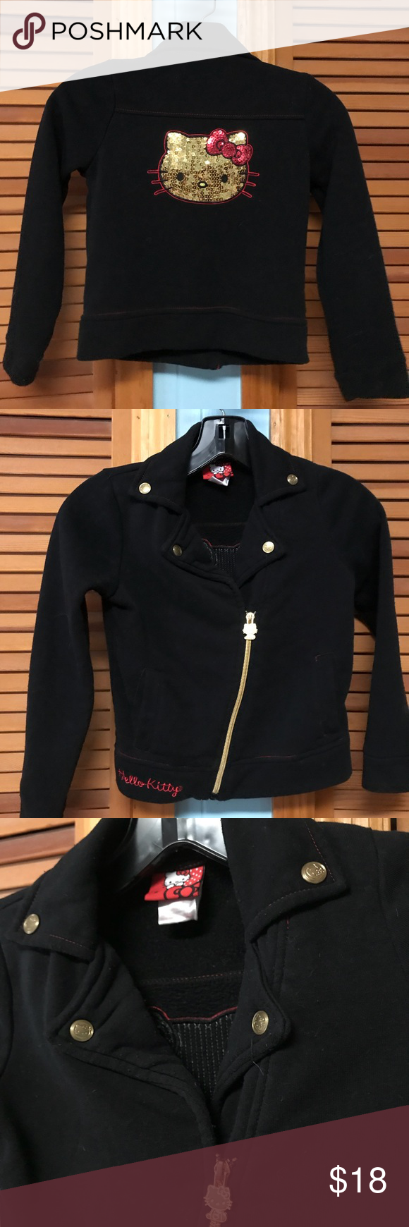 950a13c23 Girls Hello Kitty 6 utility jacket black So cute! Really fun utility jacket  look at