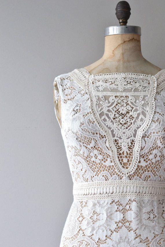 Evaline wedding gown   vintage lace wedding dress • 70s crochet ...