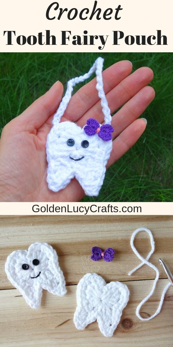 Crochet Tooth Fairy Pouch, Free Crochet Pattern – GoldenLucyCrafts #toothfairyideas