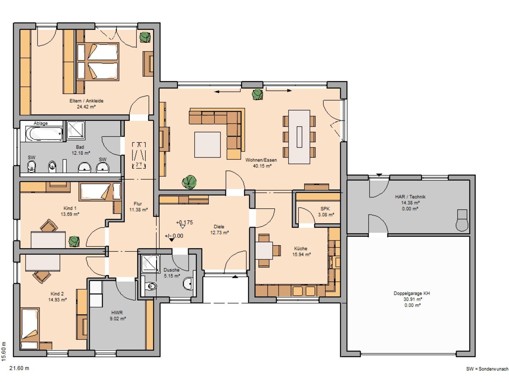 Bungalow Trio von Kern-Haus | Integrierte Doppelgarage | Haus ...