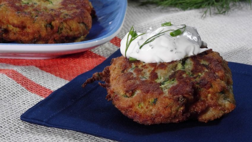 Zucchini cakes with herb sour cream recipe trisha yearwood zucchini cakes with herb sour cream recipe trisha yearwood zucchini cake and sour cream forumfinder Image collections