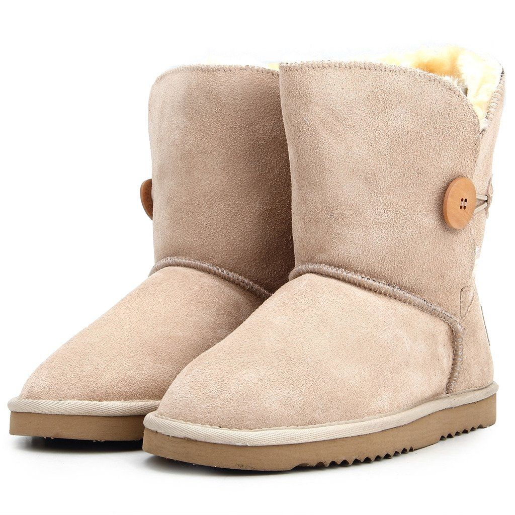 690489606db5e Shenda Zapatos Invierno - Botas de Nieve de cuero con botón forradas planas  clásicas para Mujer 8A5803  Amazon.es  Zapatos y complementos
