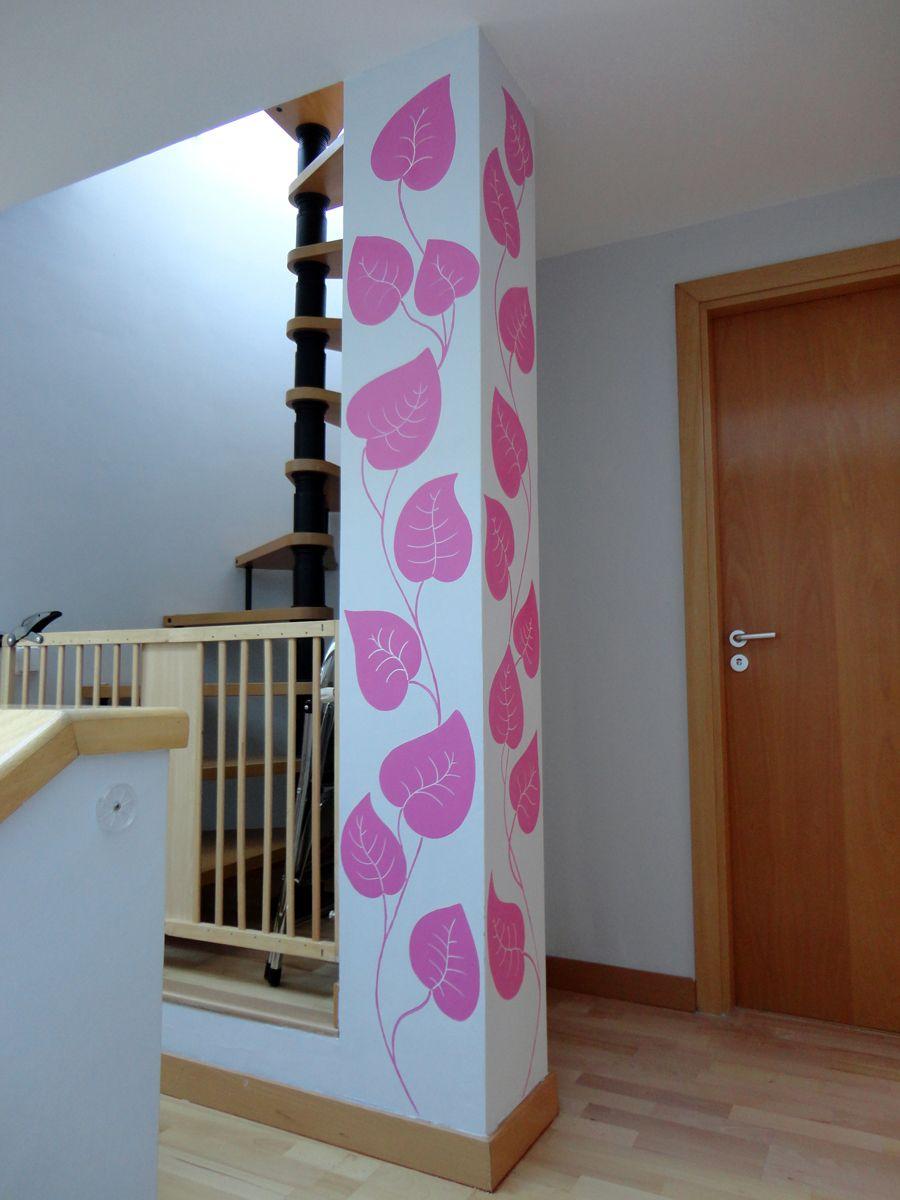 Mural en columna en pasillo plantitas y decoraciones - Columnas decoracion interiores ...