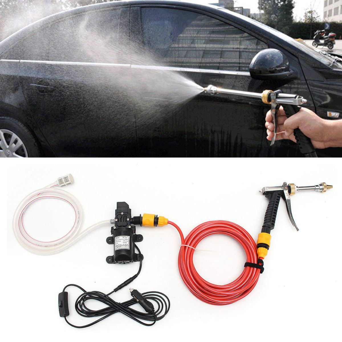 Us 33 99 12v 60w Electric Car Wash Pump Water Cleaner Washer Pressure Sprayer Tool Kit Electric Wash Pump Water Cleaner Washer Pre Clean Washer Car Wash Car Washer