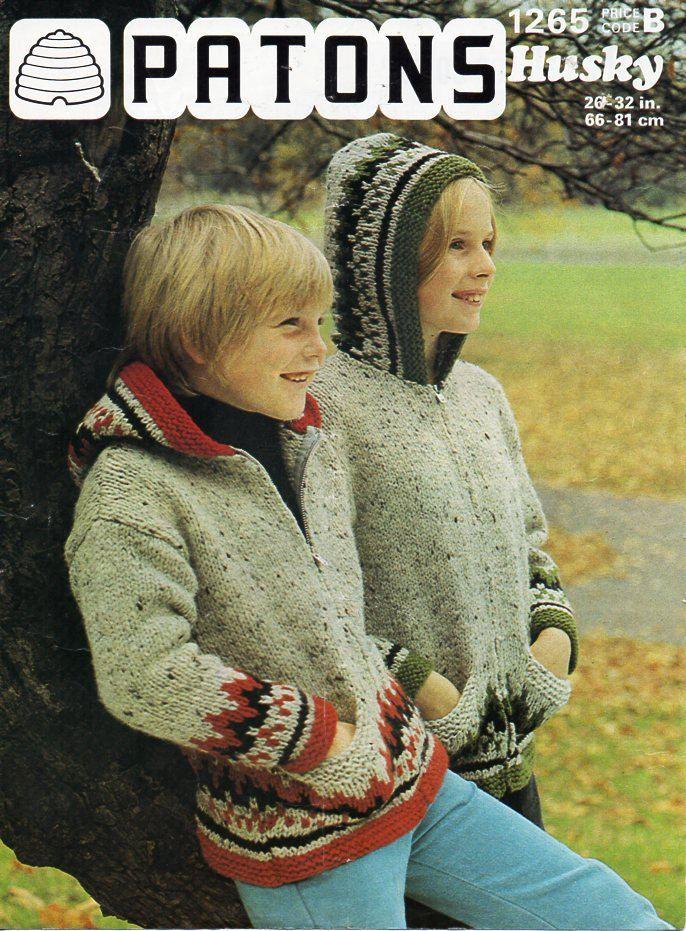 e2948e7d6f3 childrens hooded jackets knitting pattern PDF fair isle Icelandic cardigans Vintage  70s 26-32 inch