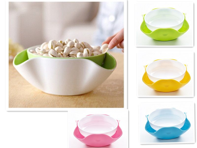 Decorative Plastic Serving Trays 2 In 1 Fruit Bowl Plastic Compote Double Snack Nuts Serving Tray