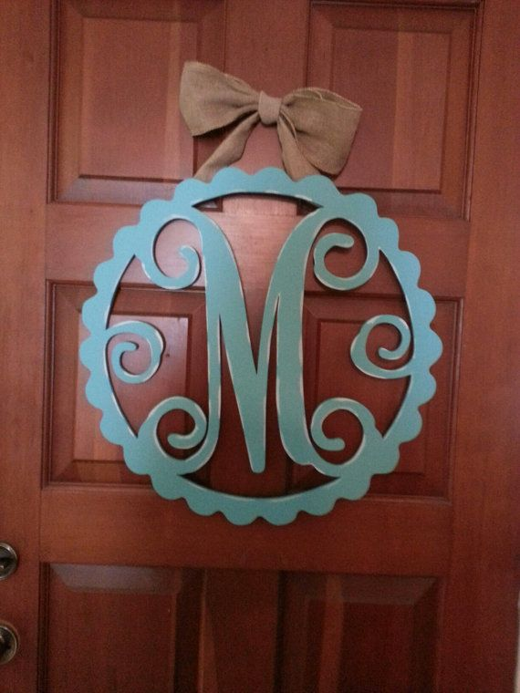 Monogram Wood Door Hanger Scallop By Hatcreekdesigns On Etsy 40 00 Decor Wood Creations