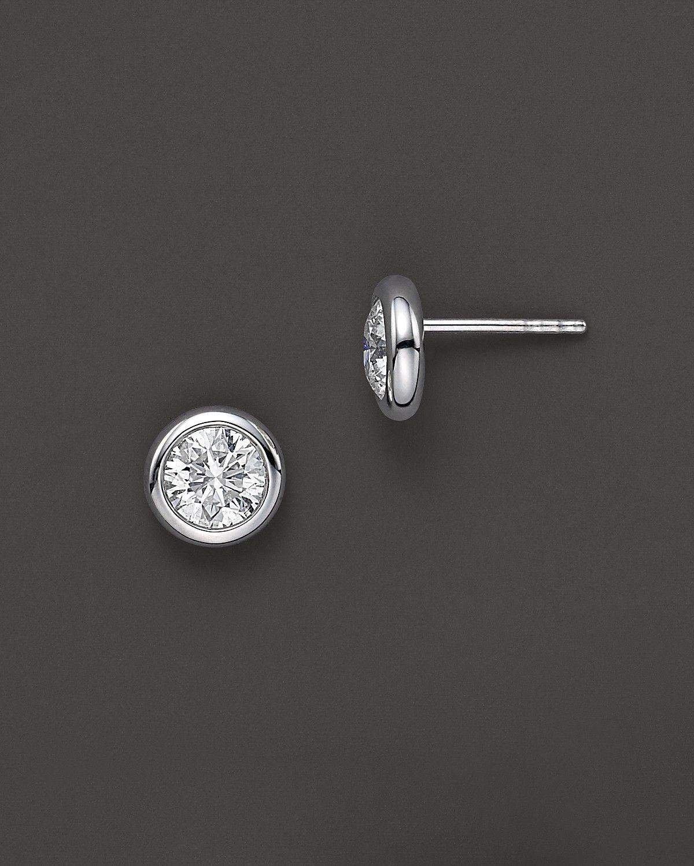 Roberto Coin 18 Kt White Gold Bezel Set Diamond Stud Earrings 1 50 Ct T W Bloomingdales