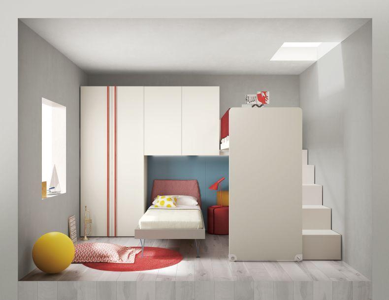 Cameretta completa di letto a castello scorrevole scala - Disposizione mobili cameretta ...