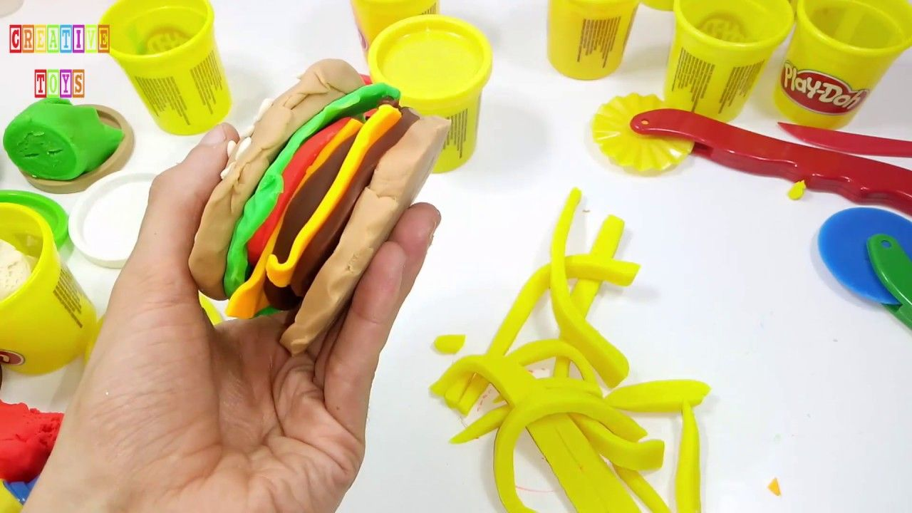 Play Doh Hamburger How to make hamburger with Play Doh Peppa Pig Disney ...