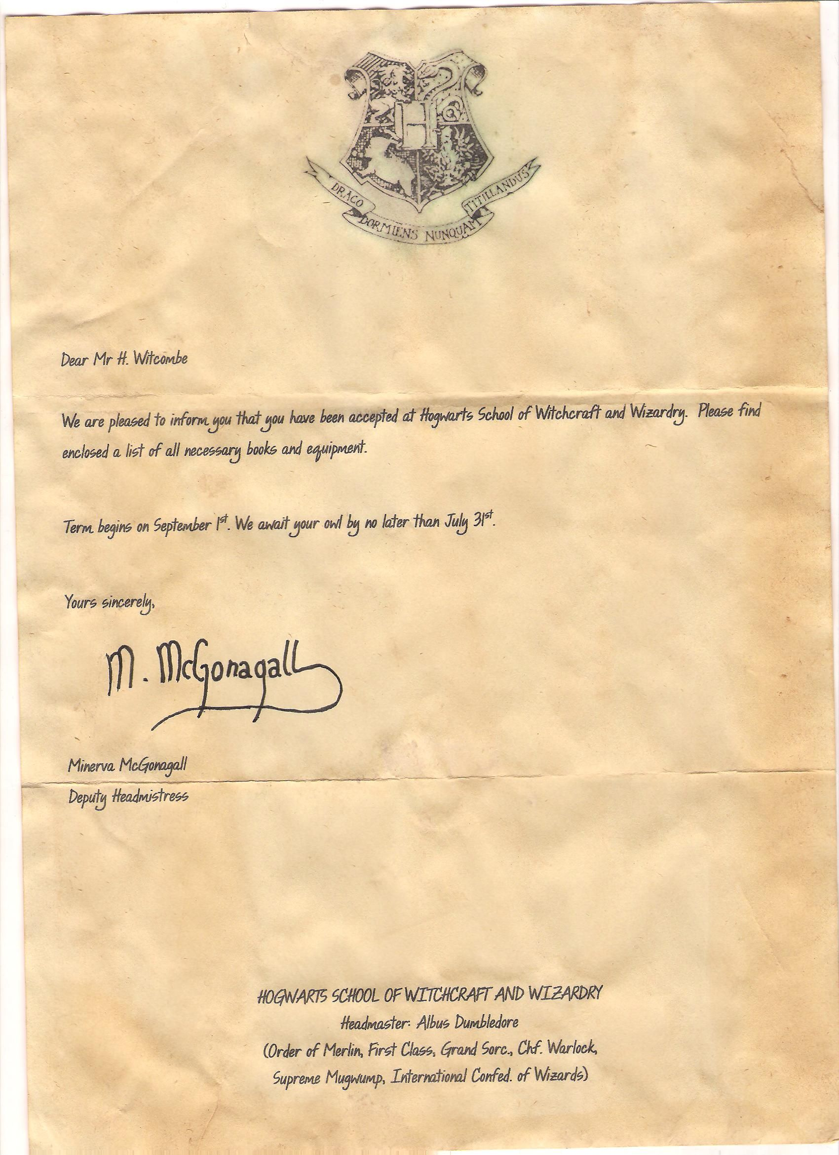 harry potter letter template  Page one of the acceptance letter from Harry Potter that ...