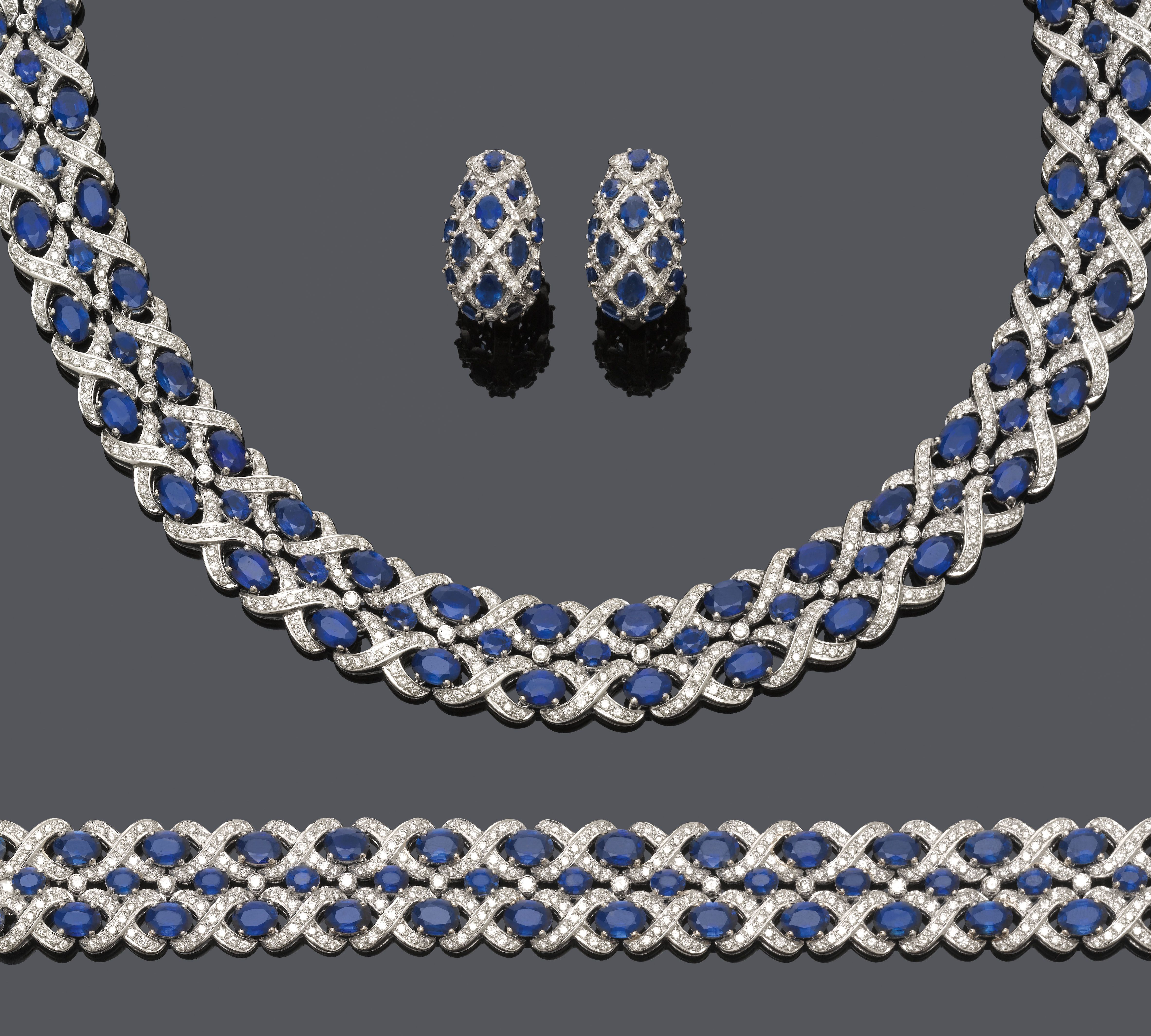 Sapphire And Diamond Necklace With Bracelet And Earrings White
