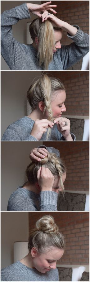 Photo of BRUN: half braid, half bun – half bun, half braided – braids.life