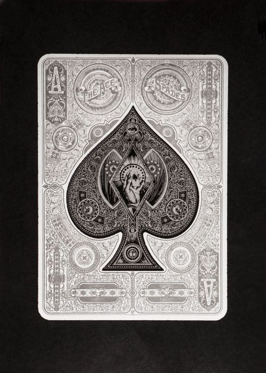 ARTFINDER: The Ace Of Spades by 57Design - A Neo-Victorian Maximalist tribute to the highest card in the deck, also known as the 'death card'.   Two colour print, white and metallic silver on 270gsm...