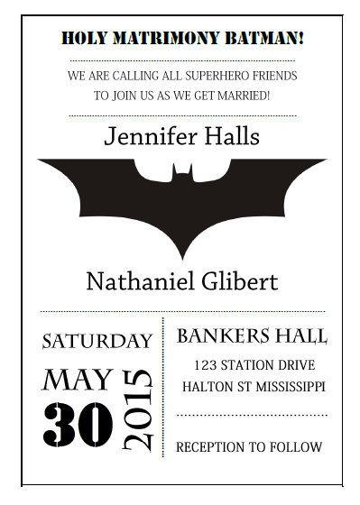 Diy Batman Wedding Invitation By Sayyestothecard On Etsy One Sweet