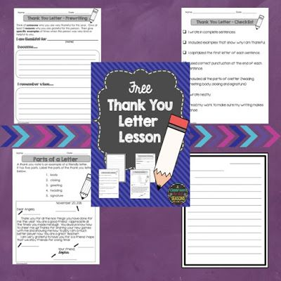 Free Thank You Letter Lesson Classroom Freebies Classroom