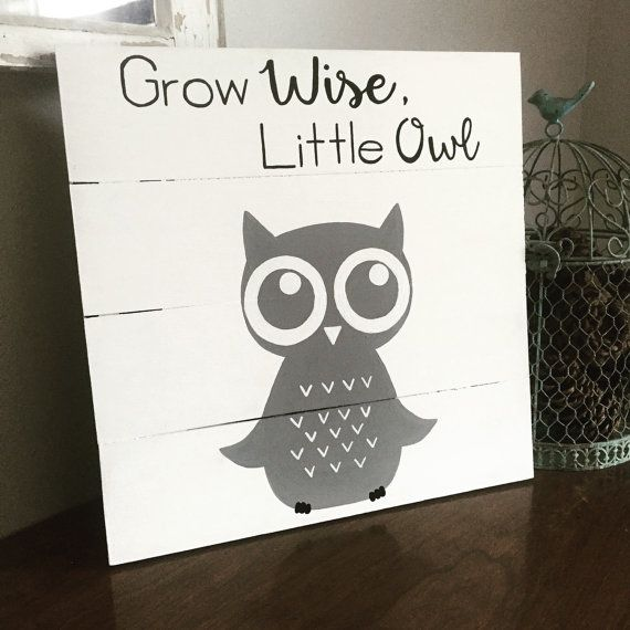 Grow Wise Little Owl Sign Nursery Decor Baby Room Pallet 14x14 Shower Gift Christmas Present