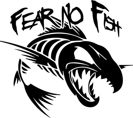 Fear No Fish Vinyl Sticker Silhouette Fish Drawings