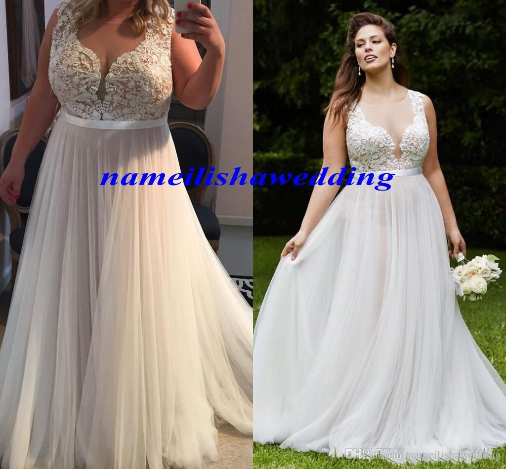 76bc3c74400 Plus Size Lace Wedding Dresses 2016 Sexy Sheer Bodice Illusion Back Cheap  Modest Corset Tulle Fat Women Country Beach Bridal Gowns New Hot Ball  Wedding ...