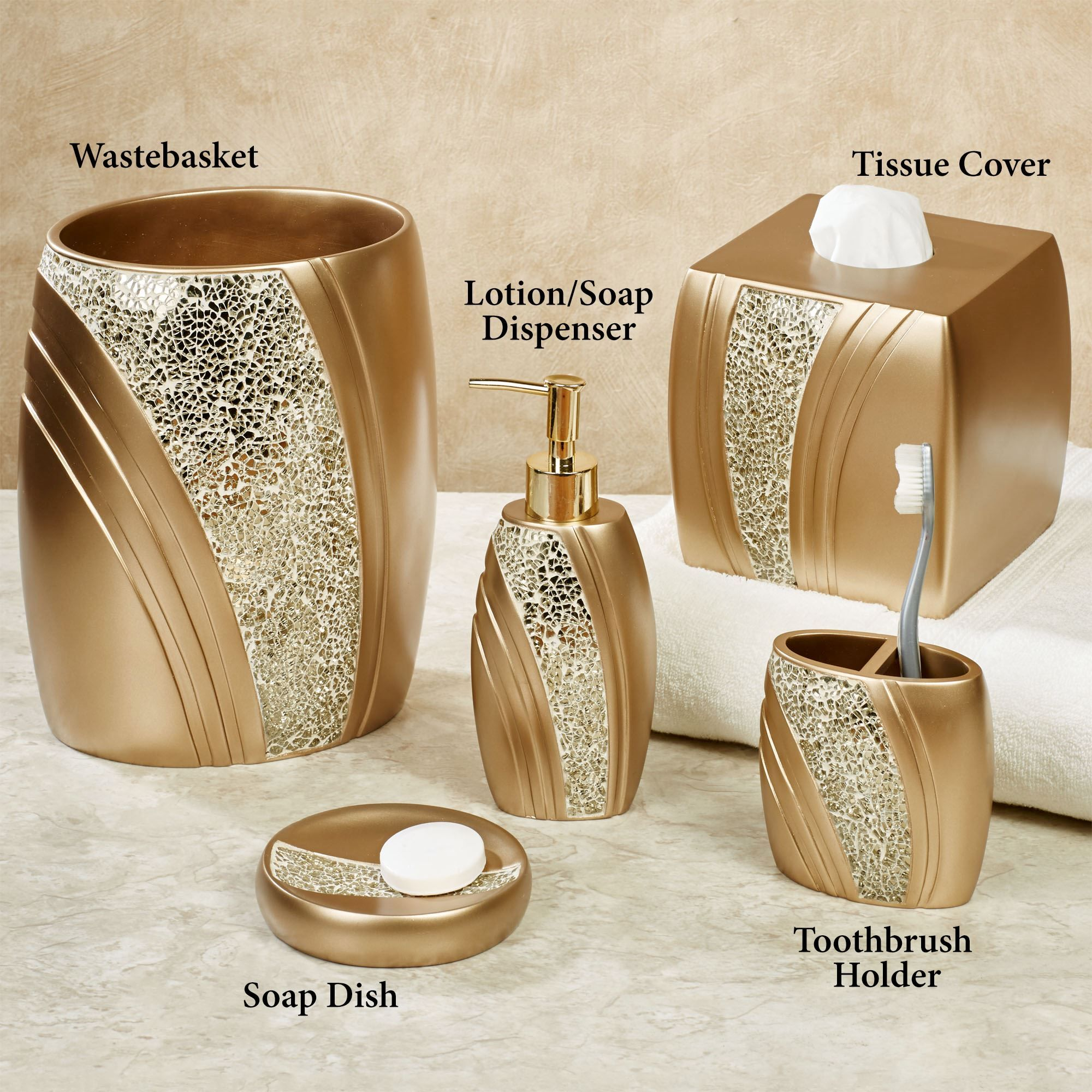 Glamour Mosaic Champagne Gold Bath Accessories Gold Bathroom Accessories Gold Bathroom Set Bathroom Accessories