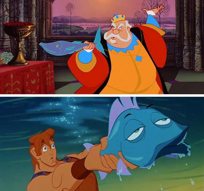 The Blue Fish - When Hercules gets a little creative with Phil's rules, we knew we had seen this type of combat before. And it's true. Prince Phillip's dad was the original wielder of the blue fish.