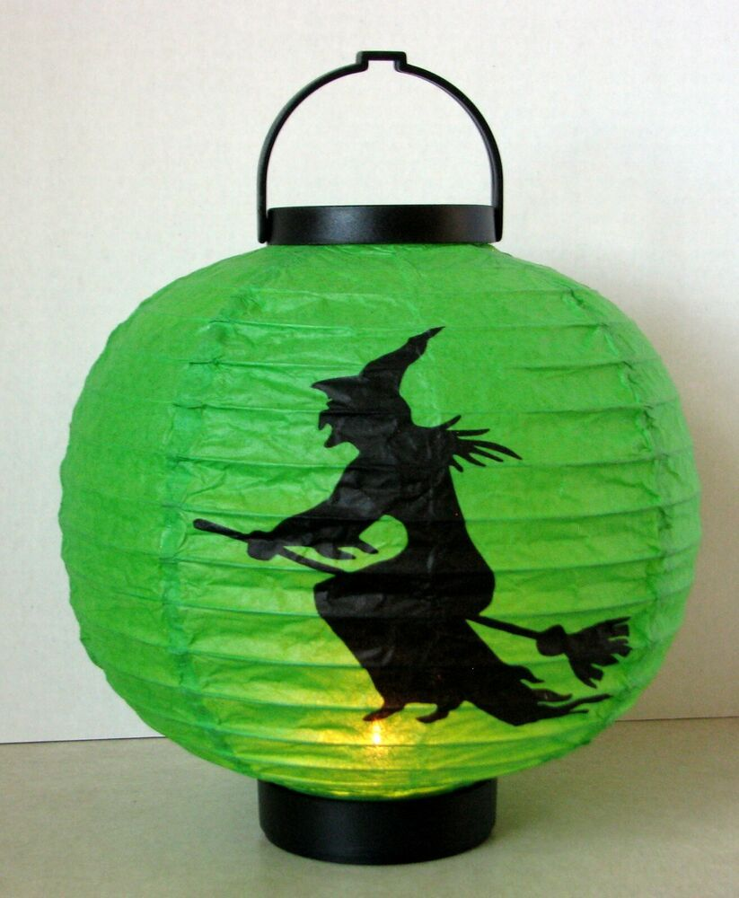 Halloween Light Up Green Paper Lantern With Witch On Broom