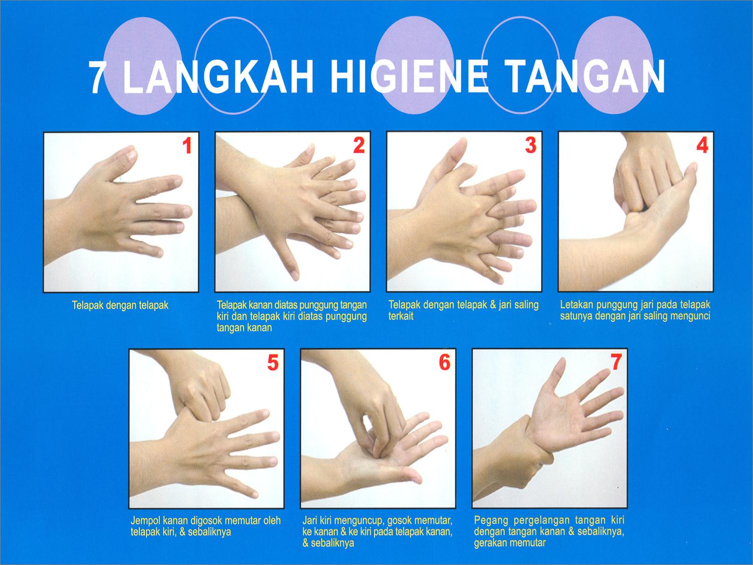 Hasil gambar untuk 7 langkah cuci tangan | Mencuci tangan ...