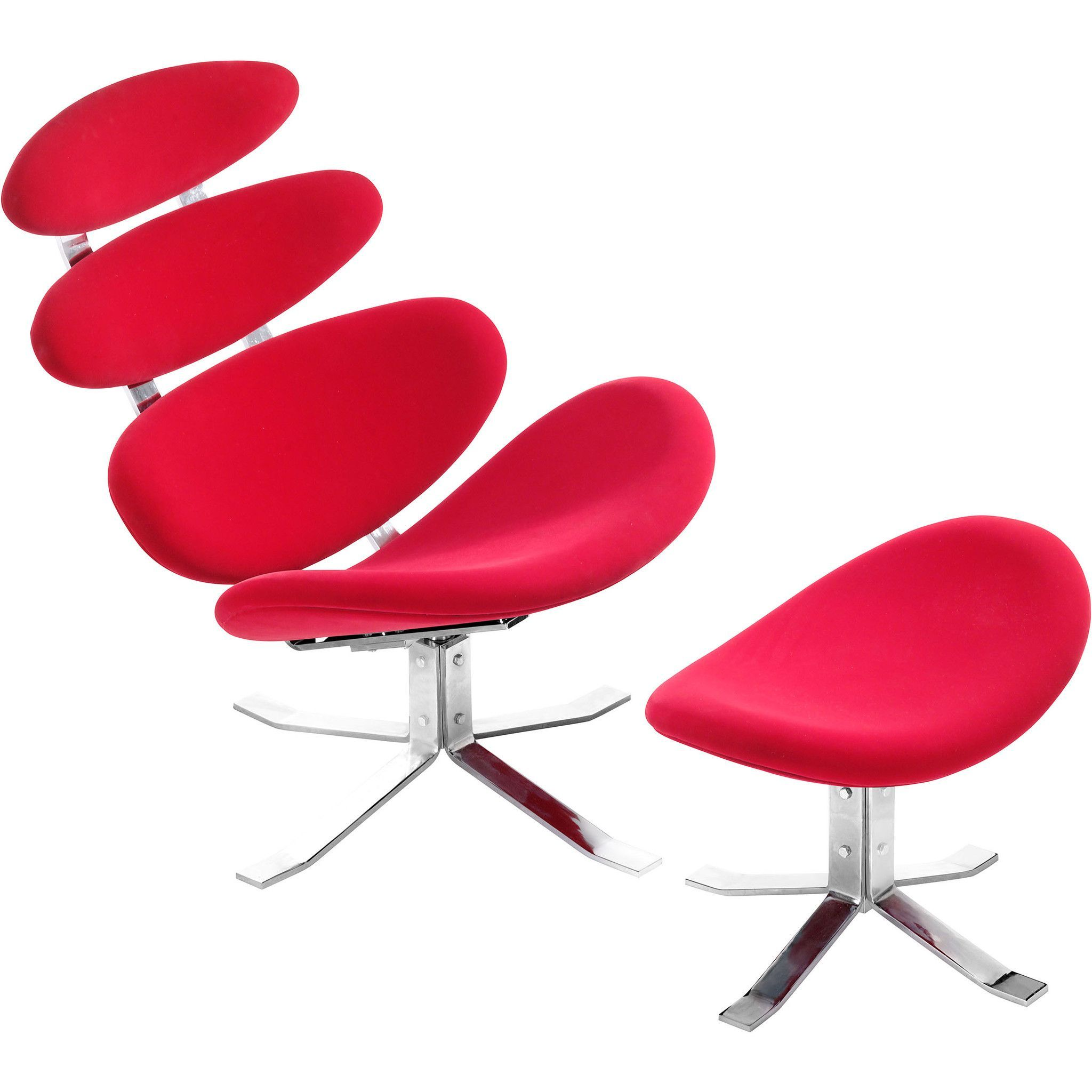 Petal Occasional Chair & Ottoman Red
