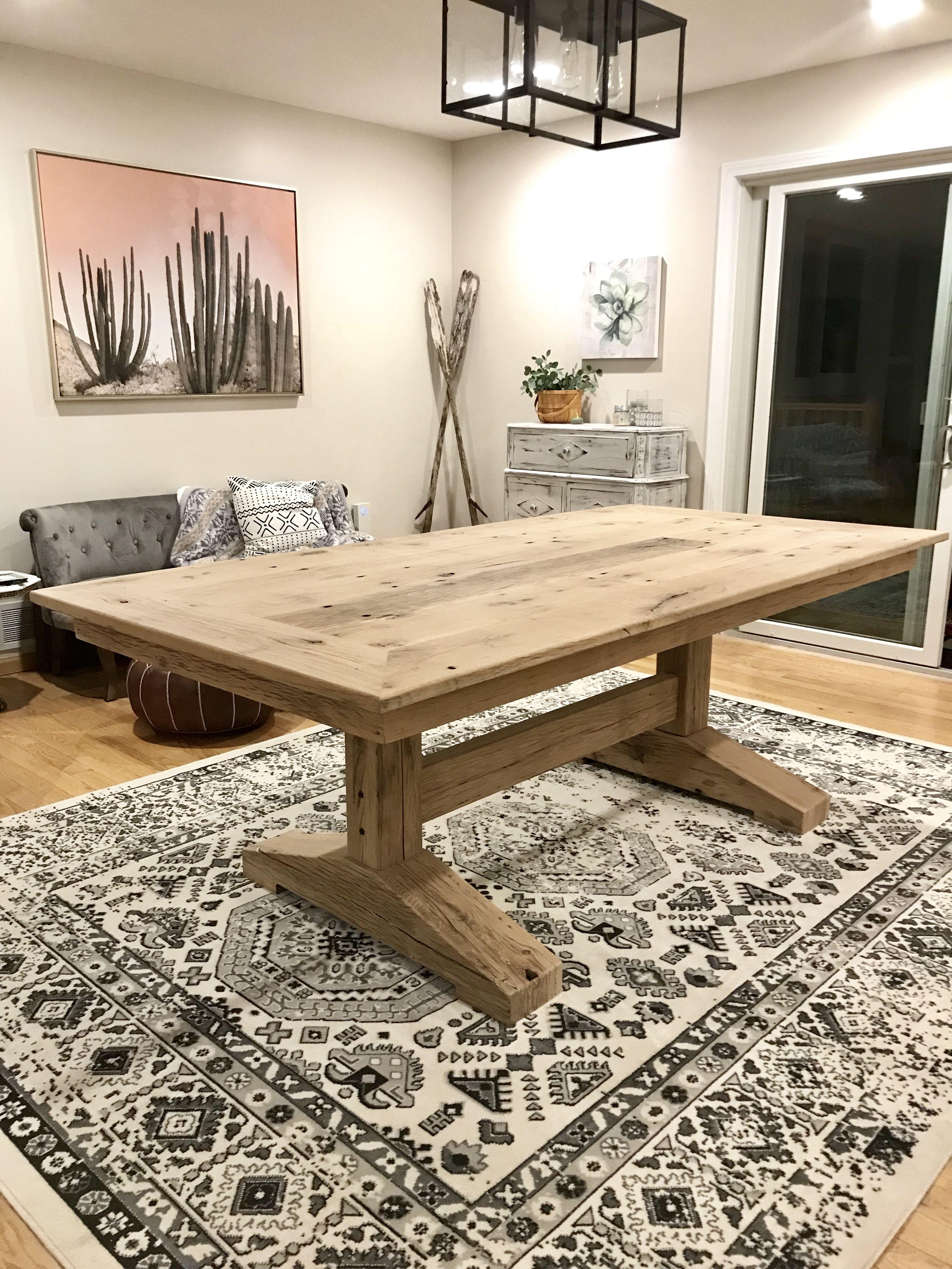 Reclaimed trailer boards for a rustic oak trestle table in