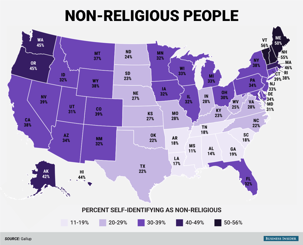 Religious Map Of The Us.Here S How Many Non Religious People Are In Each Us State