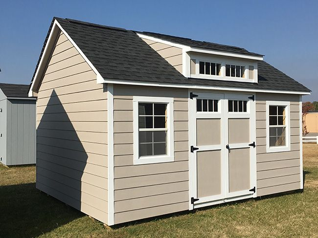 12 16 Steep Pitch James Hardie Plank Custom Paint Transom Dormer The Shed Depot Hardie Plank Pool Shed Outdoor Buildings