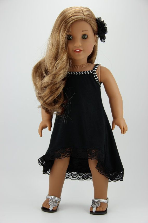 American Girl doll clothes - Black 2 piece high low strappy dress outfit (fits 18 doll) (412black)