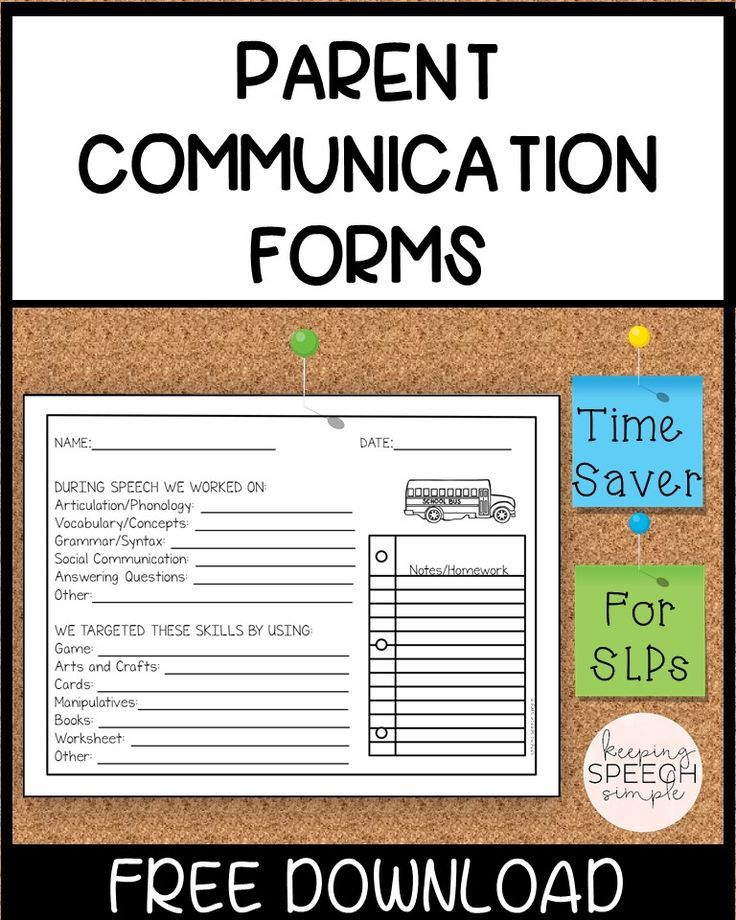 Photo of PARENT COMMUNICATION SHEETS FOR SPEECH AND LANGUAGE