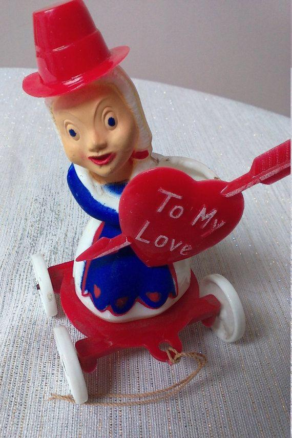 Rare Vintage Rosbro Valentine Pull Toy Pull Toy Vintage